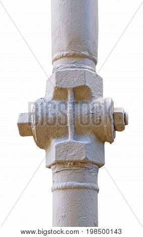 the large industrial pipes on white background