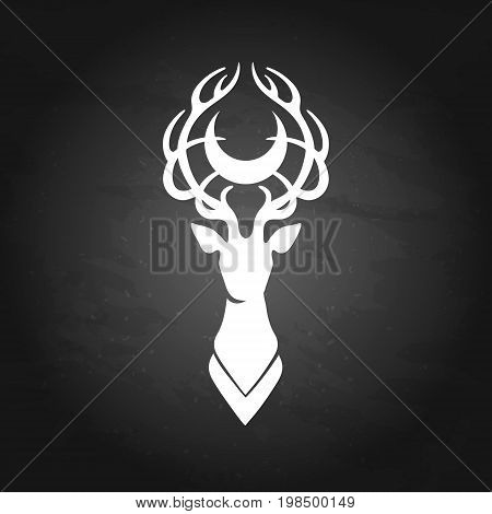 Deer silhouette with moon over its head. Vector graphic illustration isolated on the chalkboard. Can be used as blackwork tattoo art, print or t-shirt design