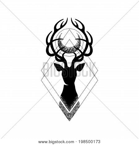 Deer silhouette with moon over its head. Vector graphic illustration isolated on white background. Can be used as blackwork tattoo art, print or t-shirt design