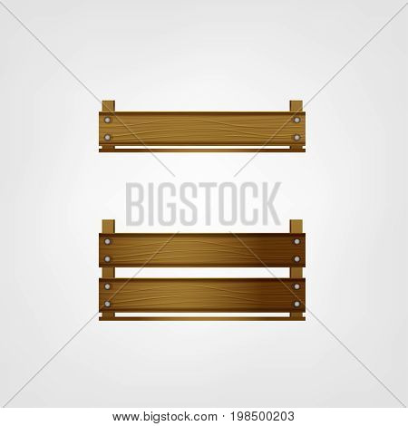 Wooden crates for fruits or vegetables. Food storage and transportation boxes isolated on a white background. Vector illustration.