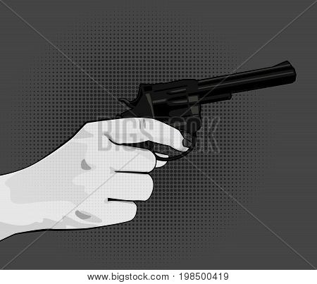 Woman hand holding revolver. Vector balck and white  illustration in comics style isolated on dark grey background.