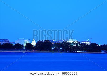 Panoramic photo of Washington, D.C skyline at night.