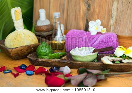 Spa; Massage Compress Balls, Herbal Ball On The Wooden With Treatments Spa , Thailand. Healthy Conce