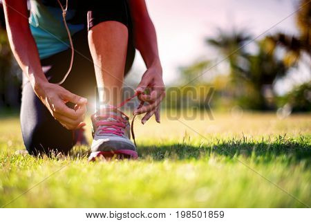 Asian Young Women Athletes Are Tying Shoes, Foot And Shoes Woman On The Floor.close Up Sport Women;