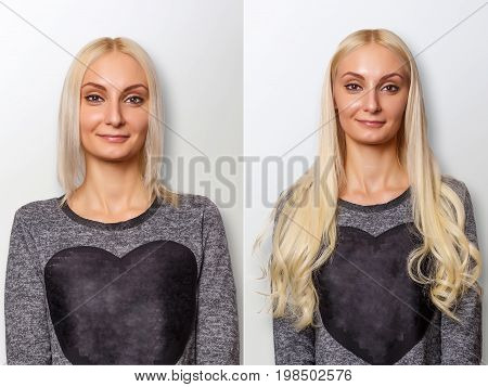 Hair extensions procedure. Hair before and after. Blond woman.