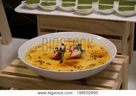 Creme brulee - traditional french vanilla cream dessert