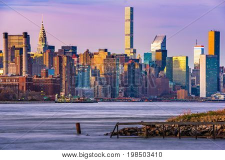 New York City Skyline on the East River.