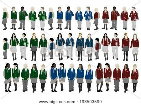 Group of vector students from high and elementary school. Boys and girls in uniform of different colors go to school