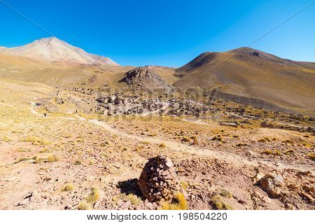 High Altitude Barren Mountain Range On The Highlands Of The Andes On The Way To The Famous Uyuni Sal