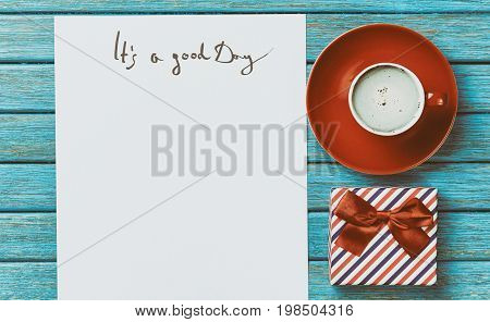Paper, Gift, Coffee Lying On The Table