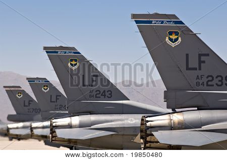 F-16 fighter jets before taking off at Luke Air Force Base