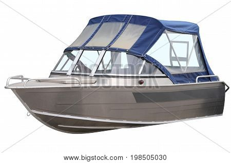 Boat with blue canvas top isolated on a white background.
