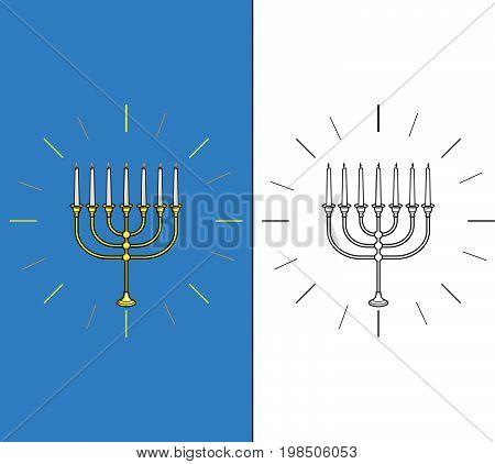 Vector illustration of jewish candle stick .