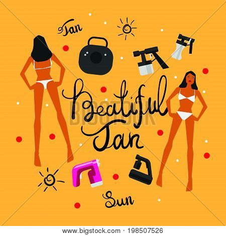 Vector illustration with tan spray machine woman in bikini and hand lettering calligraphy text on yellow background