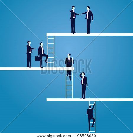 Business Career concept. Businessmen Lead to Climb High Ladder