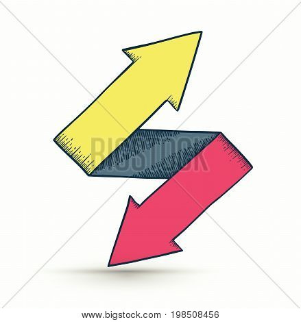 Two way arrows up and down directions consisting drawing style. Vector illustration.