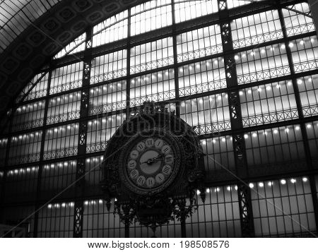 View of the hall of Orsay museum on april 2008 23th. The place is an old train station. Detail of a clock.