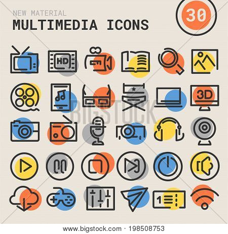 Trendy bold linear multimedia icons in bright colored retro 80s, 90s style