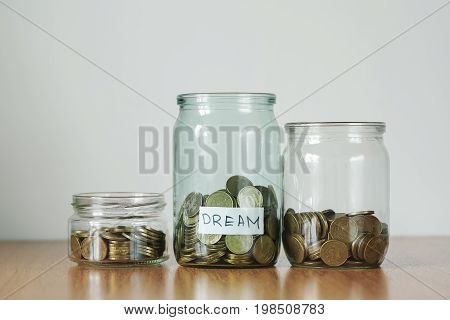 Coins In Glass Jars For Different Needs, Money Boxes. Distribution Of Cash Savings Concept. Dream St