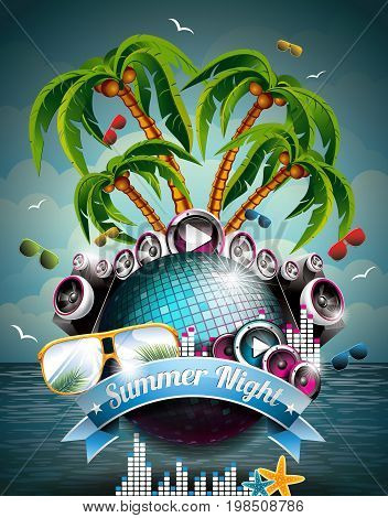 Vector Summer Beach Party Flyer Design With Disco Ball And Speakers On Tropical Sea Background. Eps1