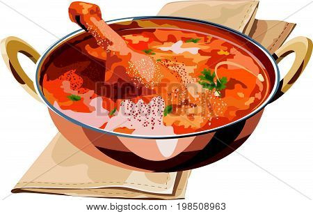 Scalable Vector illustration or artwork of  Indian spicy Chicken curry or masala chicken with prominent leg piece served in karhai or kadhai, popular recipe from India