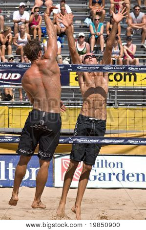 GLENDALE, AZ - SEPTEMBER 27: Olympic gold medalist Phil Dalhausser and AVP pro Sean Scott compete at the AVP Best of the Beach volleyball tournament in Glendale, Arizona