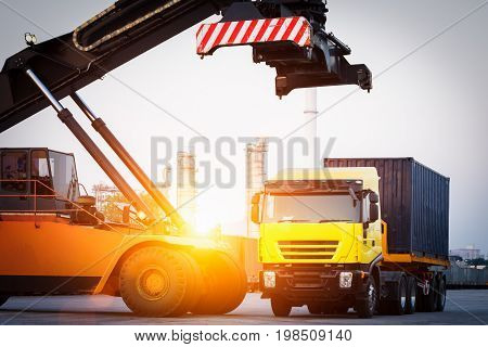 fork lifter and containerlogistic concept business transportation