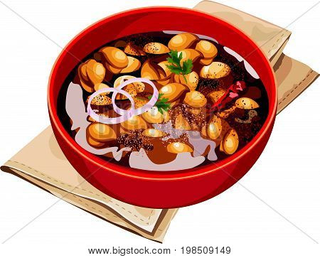 Vector Illustration of authentic north indian chole or choley or chana masala or spicy chick peas showing details and reflection of light over oil in red bowl