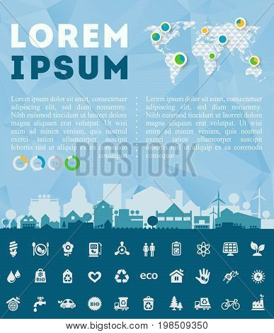 Small town or village ecological illustration Think Green with infographics world map