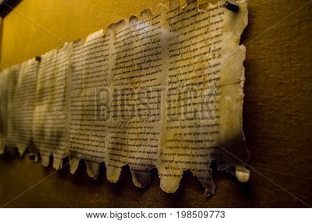 Dead Sea Scrolls, Qumran Caves Scrolls, manuscripts found in the Qumran Caves near the Dead Sea in Israel