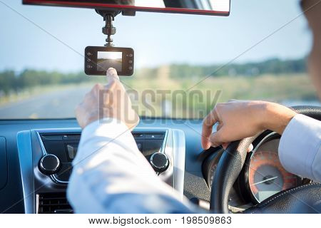 video recorder driving a car on highway