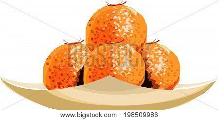Scalable Vector illustration or artwork of indian sweet bundi laddu or motichur laddu or motichoor laddu