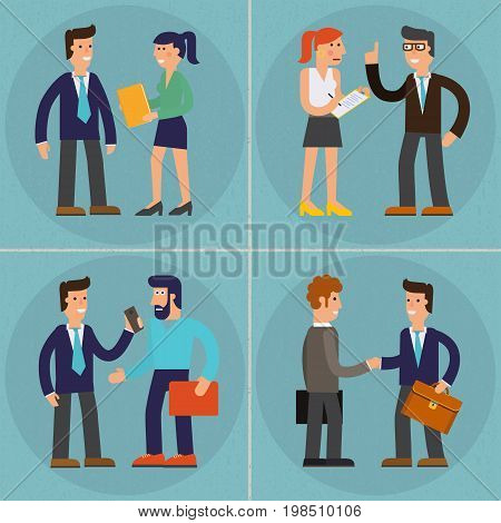Vector concept cartoon character illustrations businessman presentating a report, striking a target, searching information and talking with colleague