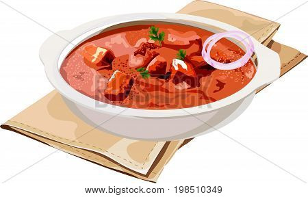 Scalable Vector illustration or artwork of paneer butter masala or cheese cottage curry, popular indian lunch/dinner menu in weddings or parties, selective focus