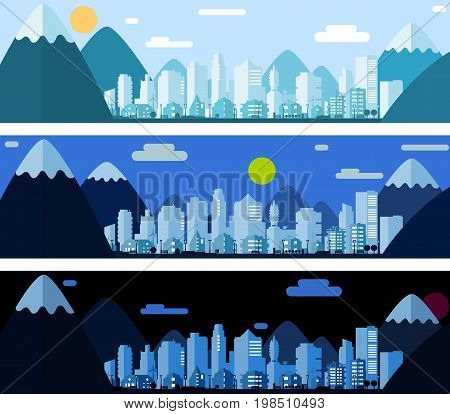 Three banners with paper material style city landscape in the morning, day and night