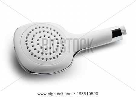 White plastic plumbing showerhead isolated, closeup .