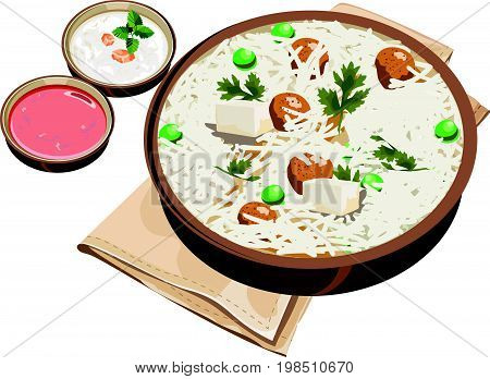 Vector Illustration of South Indian food Vada sambar and chutney over green banana leaf. Indian Cuisine Meal / Dish