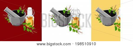 scalable vector illustration of Tulsi oil or holy basil oil with Mortar and Pestle, tulsi or holy basil is a queen of herb since ancient times in India in Ayurveda