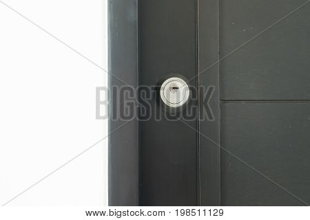 Door lock safety in house, home concept