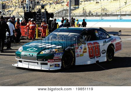 AVONDALE, AZ - NOV 7 - Dale Earnhardt Jr. (88) drives off the track and into the garage at the Phoenix International Raceway on November 7, 2008 in Avondale, Arizona.