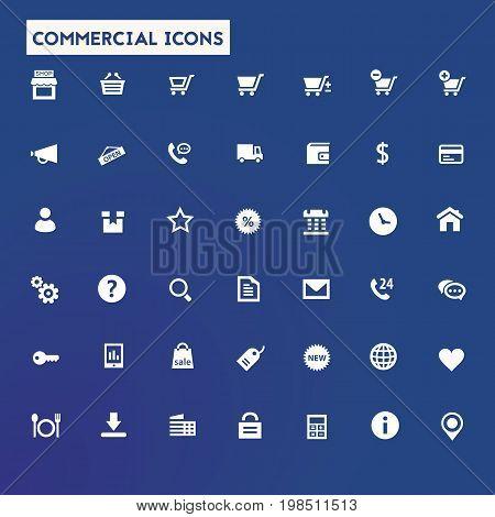 Trendy flat design big commercial icons set