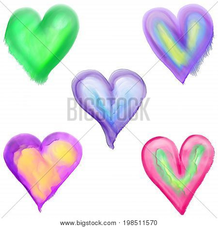 Digitally painted watercolor style love heart shapes.