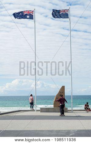 Gold Coast, Australia - July 11, 2017: war memorial at Surfers Paradise on the Gold Coast.