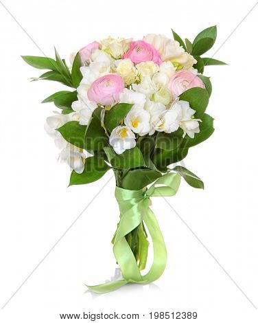 Beautiful bouquet with freesia flowers on white background