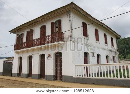 SANTO ANTONIO, SAO TOME AND PRINCIPE - FEBRUARY 3, 2017: Colonial architecture in Santo Antonio on Principe Island on February 3, 2017 in Sao Tome and Principe, Africa
