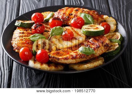 Summer Food: Grilled Chicken Fillet With Vegetables In A Sweet-hot Sauce Close-up. Horizontal