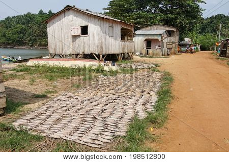 ABADE, SAO TOME AND PRINCIPE - FEBRUARY 3, 2017: Fishermen village Abade on Principe Island on February 3, 2017 in Sao Tome and Principe, Africa