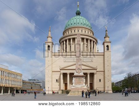 POTSDAM, GERMANY - APRIL 14, 2017: Cathedral, one of the famous places of Potsdam on April 14, 2017 in Germany, Europe