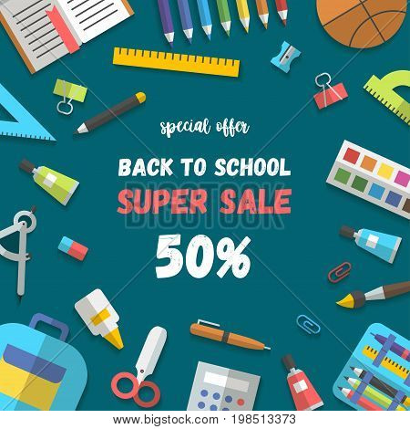 Back to school sale poster or banner template flat design randomly arranged education icon set. School supplies book, pencil, paint, pen, brush, ruler, scissors, etc. Vector illustration