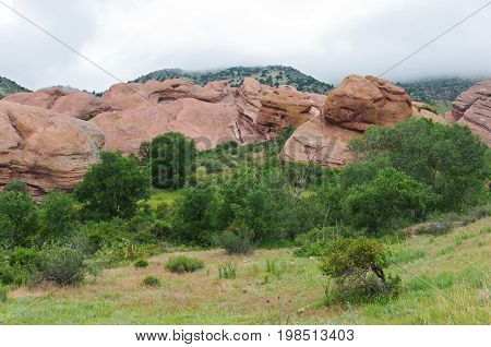 red rocks park national historic landmark glen rock formations and mountains in jefferson county colorado